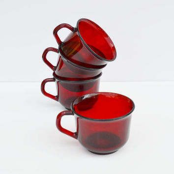 Glassware Ruby Red Arcoroc of France set of 4 by JudysJunktion