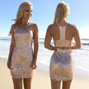 Inspire Rose Gold Sequin Bodycon Dress