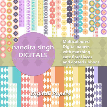 Nursery and Baby Digital papers,Floral border,Floral and dotted ribbons,Matching papers,Pastels,Printable,Decorative Borders PNG Commercial