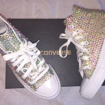 Bedazzled AB Crystal Converse Hi Tops