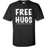 FREE HUGS Short Sleeve T-Shirt in Black - X-Large