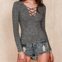 V-Neck Strappy Tight knit Sweaters