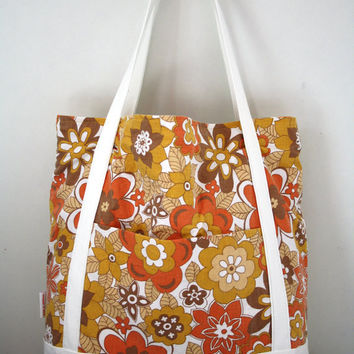 Upcycled orange, yellow and brown floral vintage shopping bag