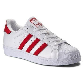 New Mens adidas Superstar Leather Trainers White Red Shoes Lace Up