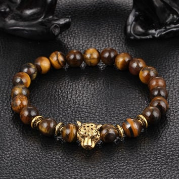 Kittenup New Fashion Gold Color Leopard Head Bead Buddha Bracelets Stone Lava Matte Tiger Eye Men and Women Jewelry