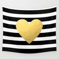 Gold Heart Wall Tapestry by Samantha Ranlet