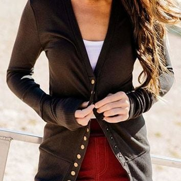 New Dark Coffee Buttons V-neck Long Sleeve Streetwear Cardigan Sweater