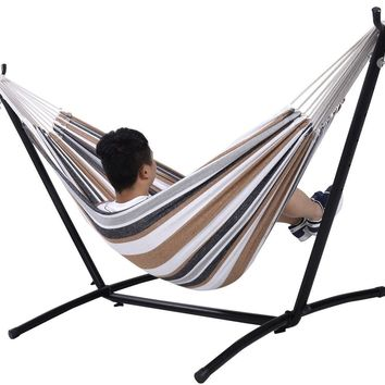Double Hammock With Space Saving Steel Stand Includes Portable Carry Bag New ..#G4E435T1 34452-3T45992
