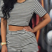 Stripe Crop Top And Short Two Piece