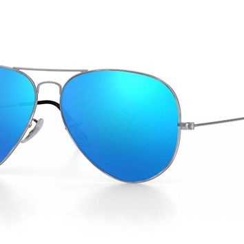 NEW Ray Ban Aviator RB3026 LARGE 62MM BLUE FLASH Mirror Silver Frame