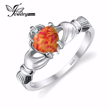 JewelryPalace Heart Orange Black Fire Opal Irish Claddagh Ring Ggenuine 925 Sterling Silver Jewelry For Women October Birthstone