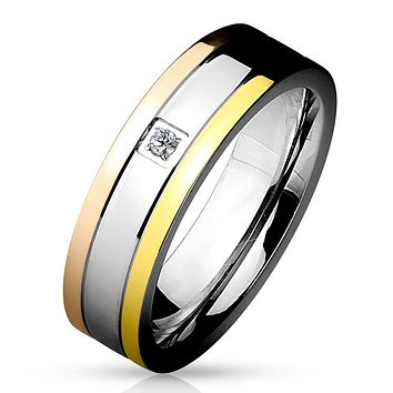 Triple Tone IP Grooved Single CZ Center Band Ring Stainless Steel
