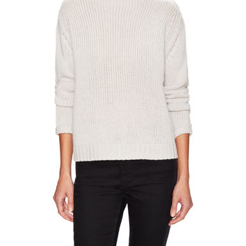 PURE NAVY Women's Cashmere Chunky Funnel Neck Sweater - Cream/Tan