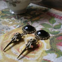 Gothic/ Victorian crystal bird skull earrings/ plugs/ gauges