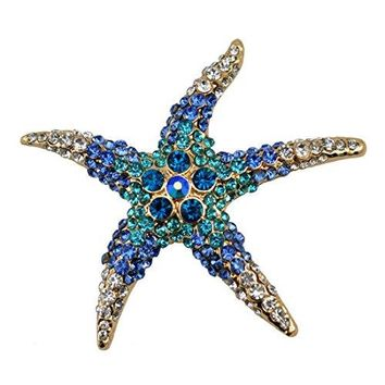NEEVAS Gold Plated Starfish Brooch Pin Crystals Jewelry Ornaments Gift