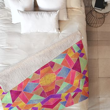 Elisabeth Fredriksson Colorful Mosaic Sun Fleece Throw Blanket