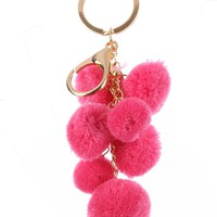 Pink Multi Chain Pompom Bag Accessory Key Chain