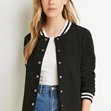 Striped Side Pockets Varsity Jacket
