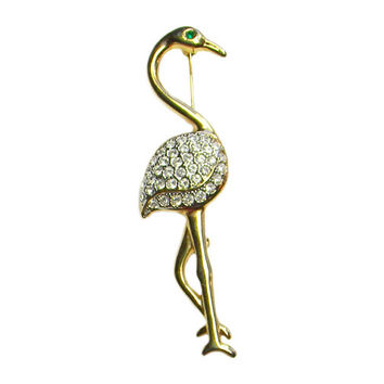 Crane Brooch Gold Tone Clear Rhinestone Wings Green Rhinestone Eye