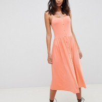 ASOS DESIGN Tall square neck midi button front smock dress at asos.com