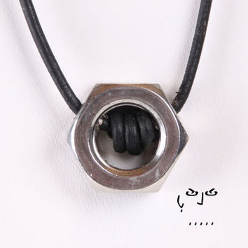 VujuWear Stainless Steel Hex Nut Leather Necklace II