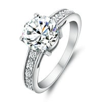 925 Sterling Silver Classic Engagement Wedding CZ Ring