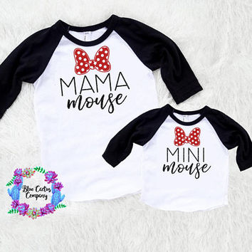 Disney Shirt set - Mama mouse & Mini mouse- FREE shipping - mommy and me set - adult child set - baby/toddler - minnie mouse shirt - disney