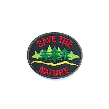 Save the Green Nature Applique Iron on Patch Size 8 x 6.8 Cm