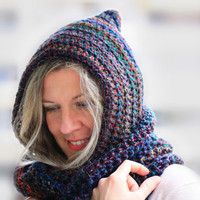 Women hooded infinity scarf, Calypso Hood, circle scarf in dark shades multicolor