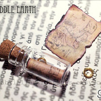 SALE LOTR Bottle Necklace - Map of Middle Earth and The One Ring - Inspired by Lord of the Rings and The Hobbit