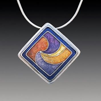 All NEW Offset Square Pendant in Blue