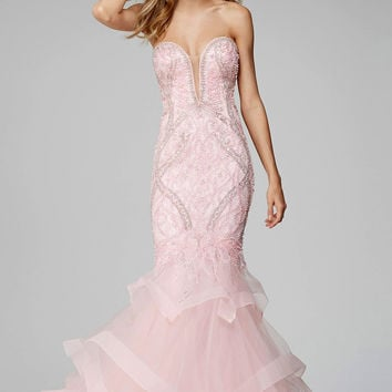 Pink Tiered Mermaid Prom Dress 31551