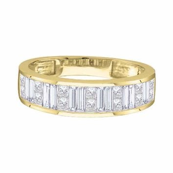 14kt Yellow Gold Womens Princess Baguette Diamond Wedding Band 1/4 Cttw - Size 6