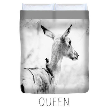 Deer duvet, deer comforter, rustic bedroom decor, black and white duvet, black and white bedroom, animal decor, nature decor, deer decor