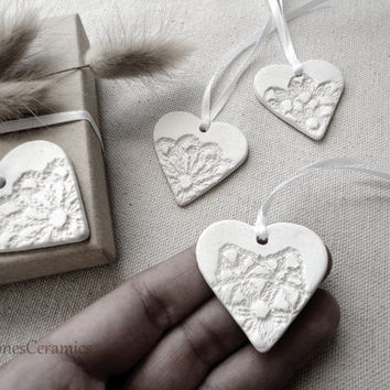 Bridesmaid Jewelry, Wedding Favor, Ceramic Pottery Gift Tags, Heart Ornament, White Shabby Chic, Aromatherapy Diffuser,