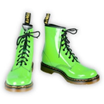 Hottopic.com - Dr. Martens Neon Green Patent Leather 8-Holed Boots