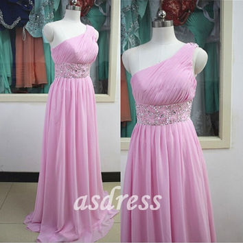 New Blush One Shoulder Bridesmaid Dress Pear Pink Homecoming Pageant Prom Evening Party Dress beaded Sequins Chiffon ballgown cocktail dress
