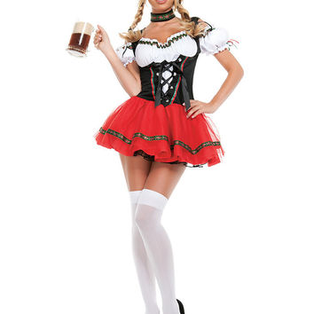 TITIVATE Sexy Adult Beer Girl Festival French Maid Party Dresse Halloween Cosplay Oktoberfest Costume For Women Suspenders Dress