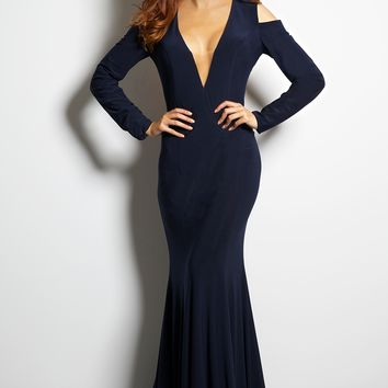 Cold Shoulder Jersey Gown 22104 - Prom Dresses
