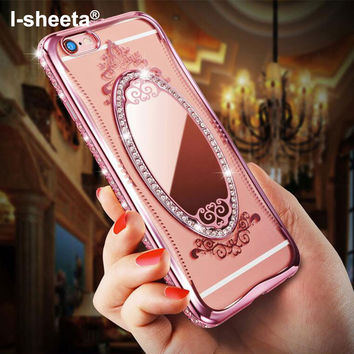 Luxury Metal Rope Diamond Mirror TPU Cell Phone Cases For iPhone 6 6S 6Plus iPhone7 Case For iPhone 7/7Plus Phone Coque -JMJewelry