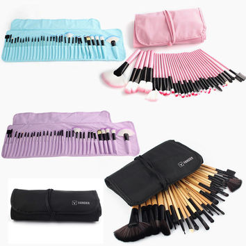 32pc Makeup Brushes Set Pro Cosmetic Brush Eyebrow Foundation Shadows Eyeliner Lip Kabuki Make Up Tools Kits & Pouch Bag
