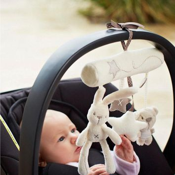 PUDCOCO Newest Cute Toddler Baby Rattles Plush Animal Rabbit Stroller Hanging Bell Toy Doll