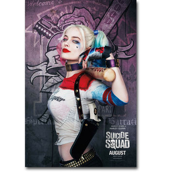 Harley Quinn - Suicide Squad Superheroes Art Silk Fabric Poster Print 13x20 24x36 inch Movie Picture for Wall Decor 014