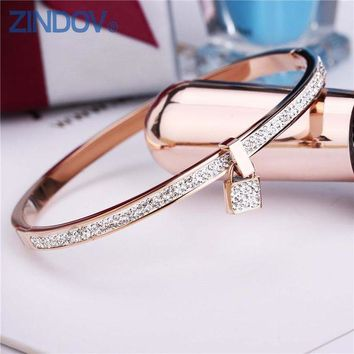 ac spbest 2018 New Fashion Stainless Steel Bangles Bracelet For Women Padlock Gold Rose Gold Silver Color Key Charm Famous Brand Jewelry