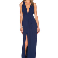 Crepe Deep V Gathered Gown in Navy