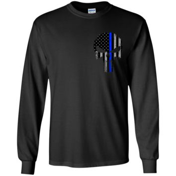 Police Punisher Thin Blue Line LS Ultra Cotton Tshirt