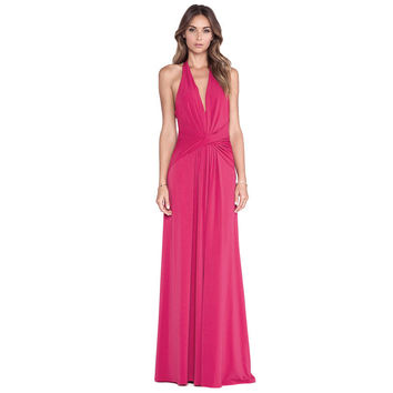 Rose Red Deep V-Neck Ruche Halter Maxi Dress