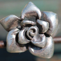 Vintage Solid 925 Sterling Silver Rose or Gardenia Flower Ring