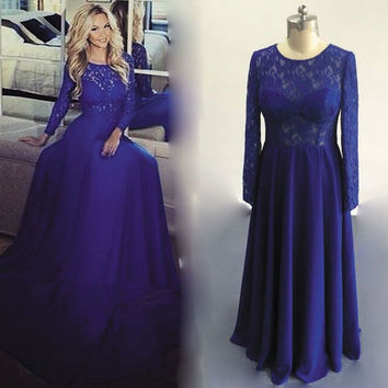 Royal Blue Lace Long Sleeve Prom Dresses