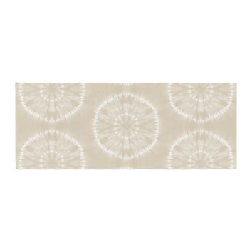 "Jacqueline Milton ""Shibori Circles - Latte"" Beige Pastel Mixed Media Bed Runner - Outlet Item"